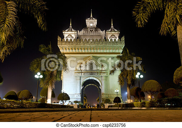 patuxai arch at night in vientiane, laos - csp6233756
