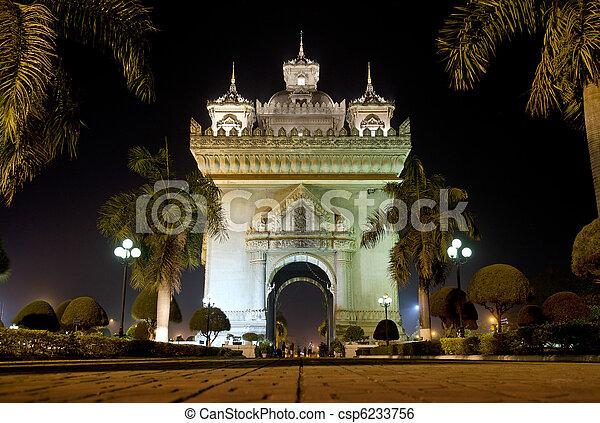 patuxai arch at night in vientiane, laos - csp6233756
