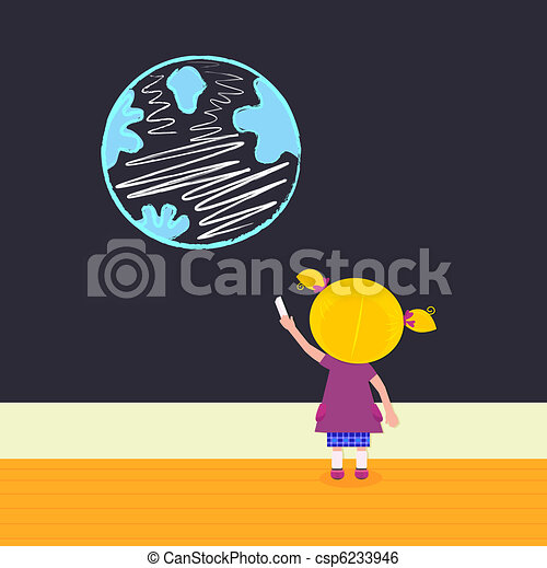Little girl in school painting Earth on the black board