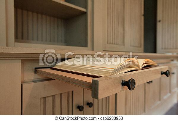 Custom natural cabinets close up - csp6233953