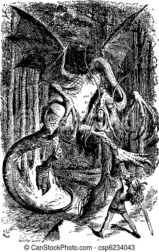 The Jabberwocky - Through the Looking Glass and what Alice Found There original book engraving - csp6234043