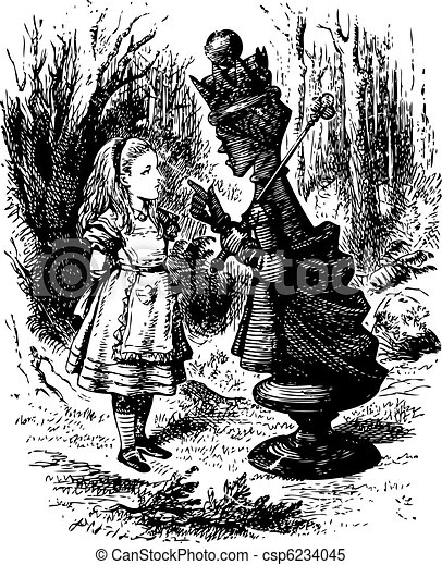 The Red Queen chastises Alice - Through the Looking Glass and what Alice Found There original book engraving - csp6234045