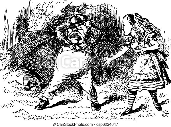 Tweedledum Stomps and Tears His Hair - Through the Looking Glass and what Alice Found There original book engraving - csp6234047