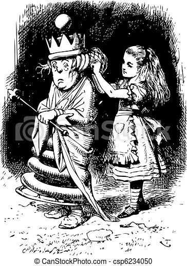 Alice gets the White Queen's Hair in Order - Through the Looking Glass and what Alice Found There original book engraving - csp6234050
