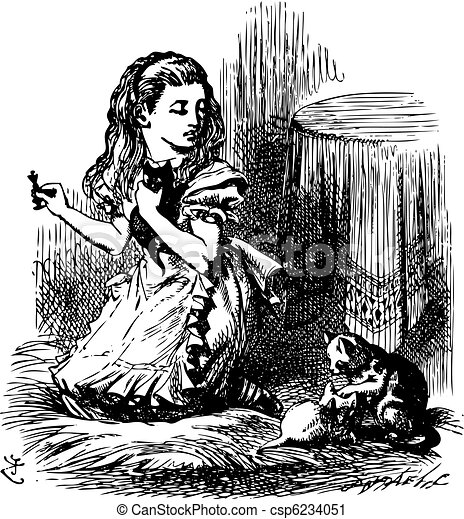 Now, Kitty, let's consider who it was that dreamed it all - Through the Looking Glass and what Alice Found There original book engraving - csp6234051