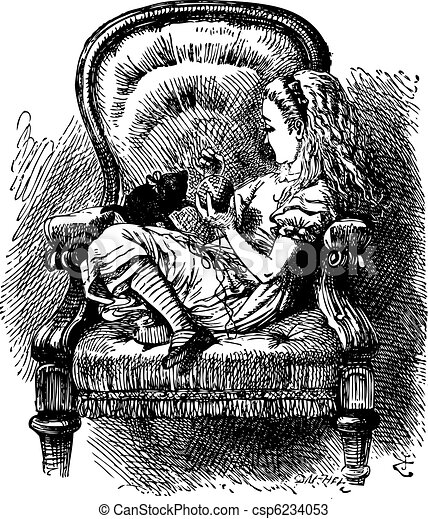 Alice talks to the Kitten - Through the Looking Glass and What Alice Found there original book vintage engraving - csp6234053