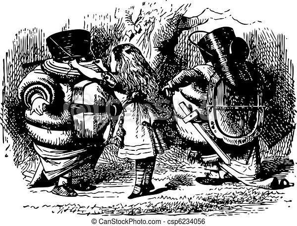 Tweedledum and Tweedledee Prepare to Fight - Through the Looking Glass and what Alice Found There original book engraving - csp6234056