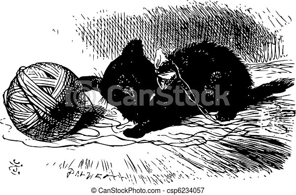 The black kitten with a ball of twine, Through the looking glass and what Alice found there book engraving - csp6234057