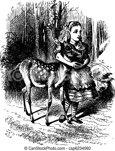 Alice with her arms clasped lovingly round the soft neck of the Fawn - csp6234060