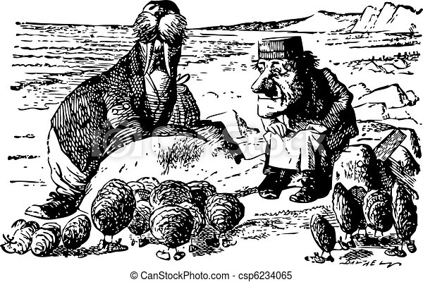 The Walrus, The Carpenter and the Little Oysters - Through the Looking Glass and what Alice Found There original book engraving - csp6234065