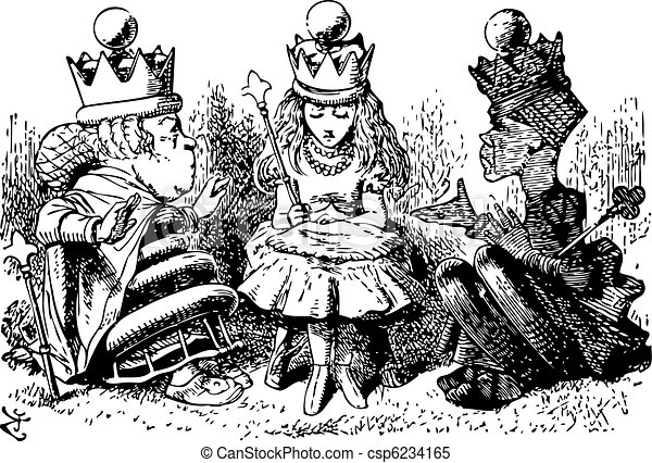 Alice with the Red and White Queens - Through the Looking Glass and what Alice Found There original book engraving - csp6234165