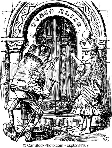 Alice and the Frog at the Door - Through the Looking Glass and what Alice Found There original book engraving - csp6234167
