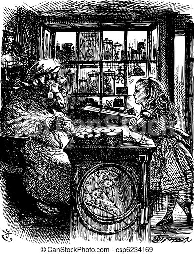 Alice and the Knitting Sheep - Through the Looking Glass and what Alice Found There original book engraving - csp6234169