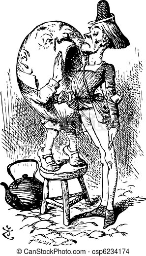 Humpty Dumpty Shouts in the Messenger's Ear - Through the Looking Glass and what Alice Found There original book engraving - csp6234174