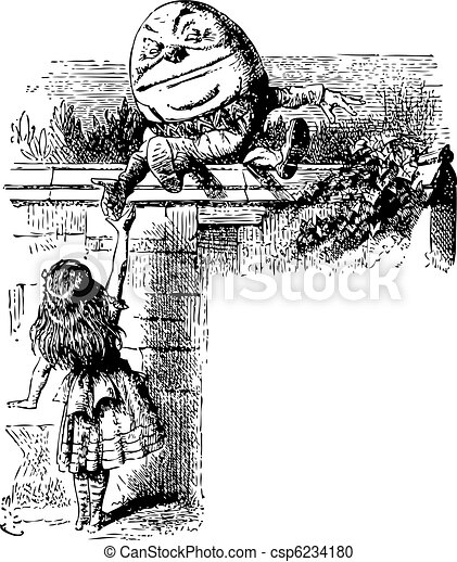 Humpty Dumpty - Through the Looking Glass and what Alice Found There original book engraving - csp6234180