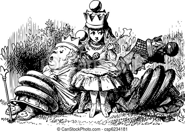 Alice with the Sleeping Queens - Through the Looking Glass and what Alice Found There original book engraving - csp6234181