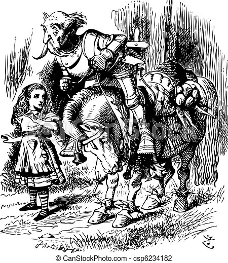 The White Knight Falls off His Horse - Through the Looking Glass and what Alice Found There original book engraving - csp6234182
