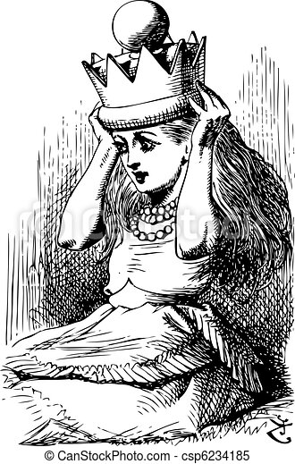 Alice with Crown - Through the Looking Glass and what Alice Found There original book engraving - csp6234185
