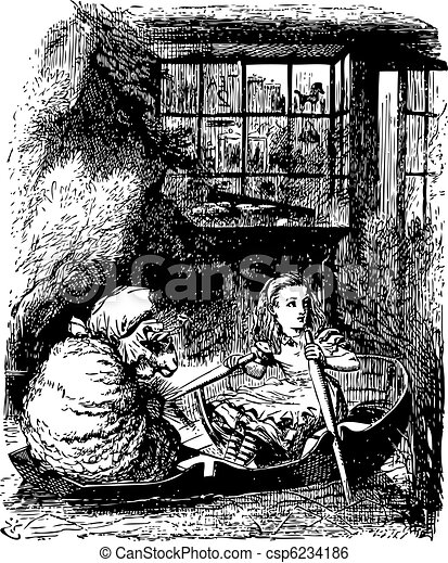 Alice Rows the Sheep - Through the Looking Glass and what Alice Found There original book engraving - csp6234186