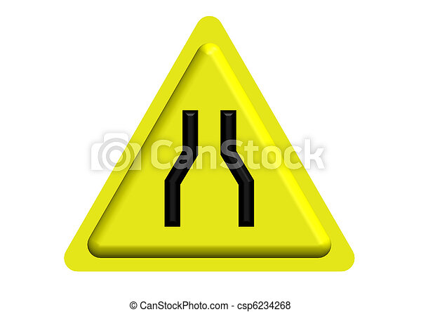 Traffic sign of Narrow road ahead - csp6234268