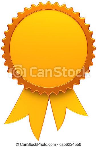 Award ribbon blank golden medal - csp6234550