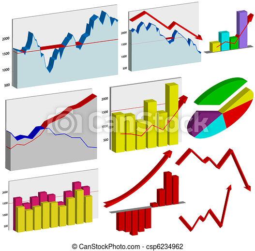 Set of 3d business graphs - csp6234962