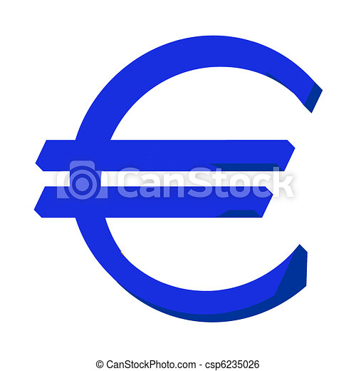 Stock Illustration of Blue Euro sign or symbol; isolated on white ...