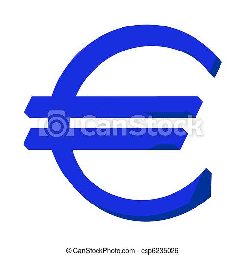 Stock Illustration of Blue Euro sign or symbol; isolated on white ...
