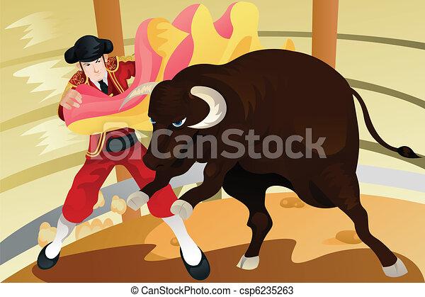 Bull fighting matador - csp6235263
