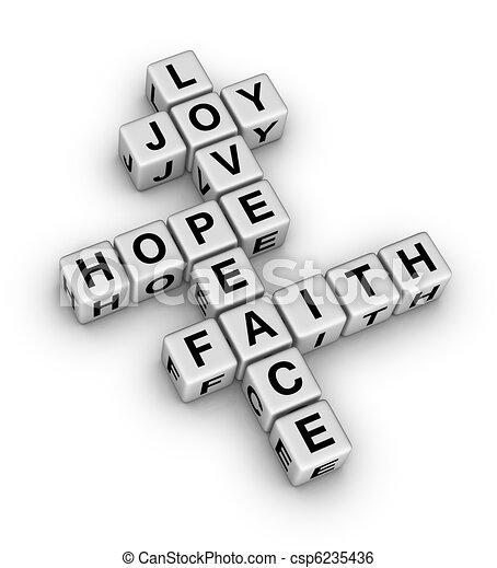 Joy, Love, Hope, Peace and Faith - csp6235436