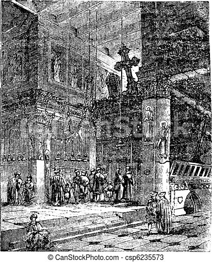 Church of the Nativity, Bethlehem, Israel, vintage engraving. - csp6235573