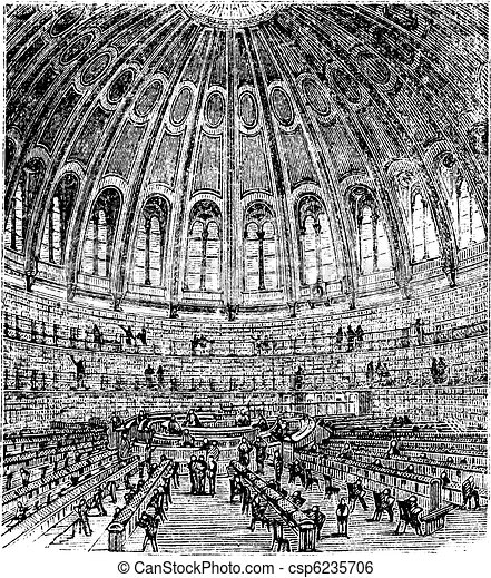 Sketch of the reading room in the British Museum in London, United Kingdom (England), vintage engraving from 1890s - csp6235706