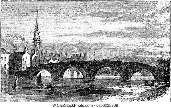 Rio, Ayr, pontes, antigas, ponte, ou, Auld, Brig, sobre, Ayr, Rio, Escócia, vindima, gravura - csp6235709