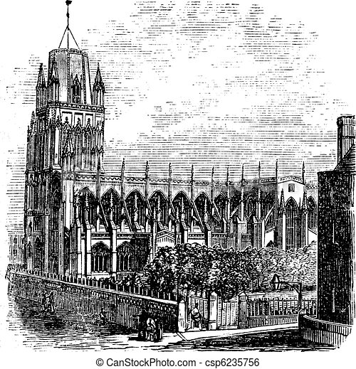 Saint Mary Redcliffe - Anglican church in Bristol, England (United Kingdom). Vintage Engraving from 1890s. - csp6235756