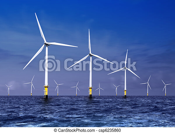 wind turbines on sea - csp6235860