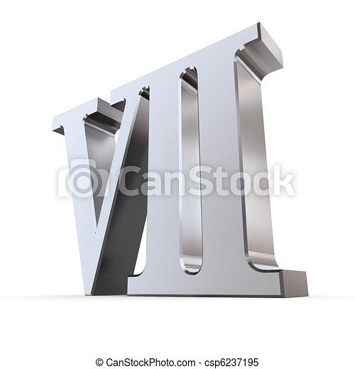 Metallic Roman Numeral 7 - csp6237195