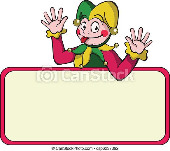 Cartoon harlequin with bulletin board. - csp6237392