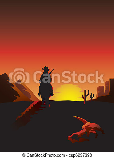 Cowboy riding a horse in the desert - csp6237398