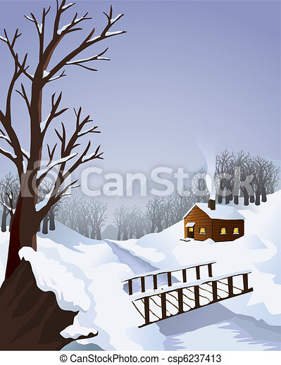 Winter landscape with cottage in the woods - csp6237413