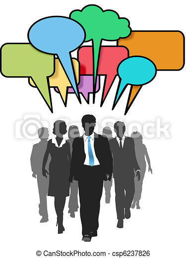 Business social people walk talk color bubbles - csp6237826