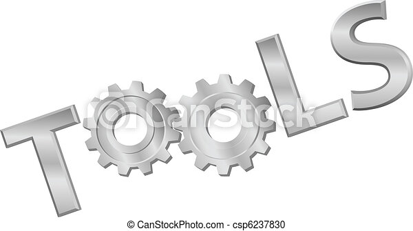 Shiny metal tools technology gear icon word - csp6237830
