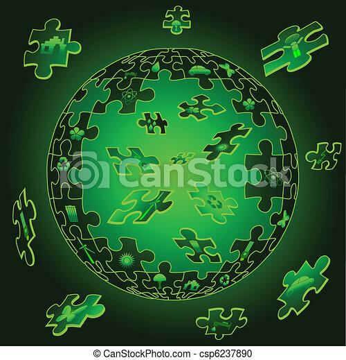 Eco Earth in puzzle pieces - csp6237890