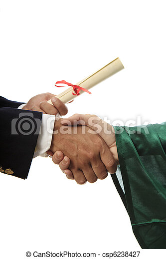 handshake and a diploma at graduation - csp6238427