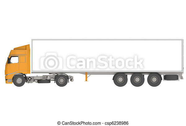 Orange Commercial Truck, Isolated  - csp6238986