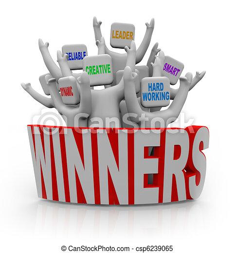 ganadores,  -, gente, con, trabajo en equipo,  Qualities - csp6239065