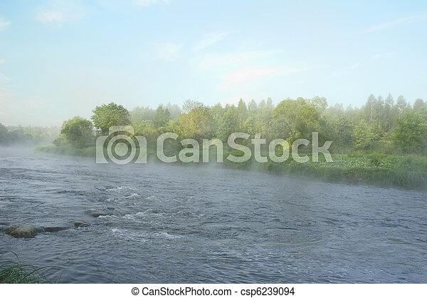 presto, fiume, banca, Mattina - csp6239094