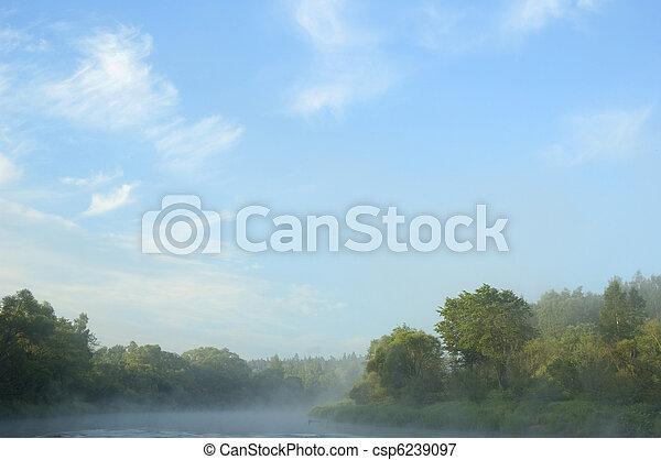 presto, fiume, banca, Mattina - csp6239097