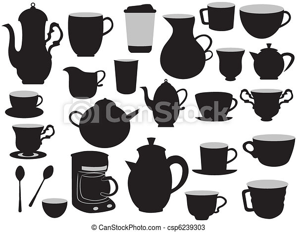the set of coffee pots and cups - csp6239303