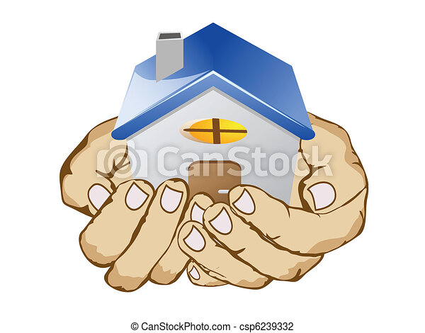 hands holding house - csp6239332