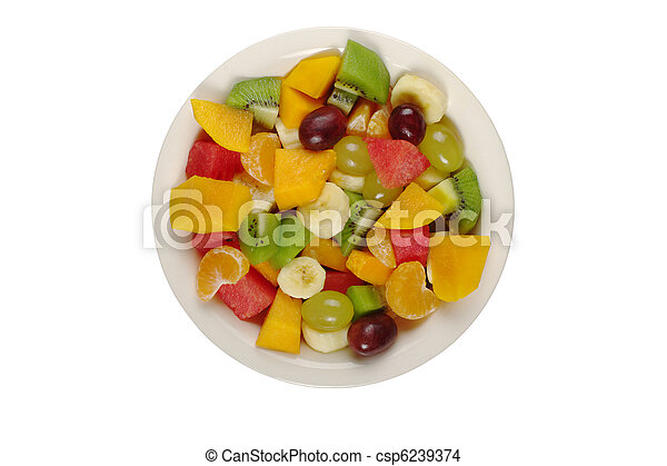 Tropical fruit salad on white plate on white background photographed from above (Isolated)  - csp6239374